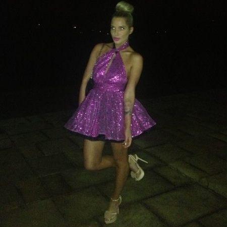 Helen Flanagan in purple