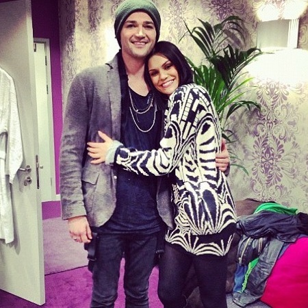 Jessie J and Danny O'Donoghue pose backstage at The Voice series two