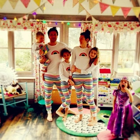 Jamie and Jools Oliver in family pyjamas