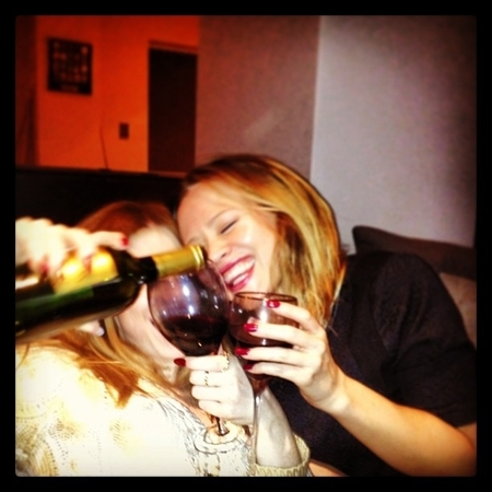 Nicola Roberts and Kimberley Walsh NYE drinks