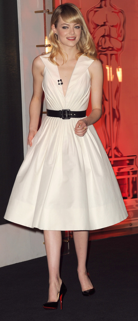 White vintage dress for 85th Oscar Nominations announcement