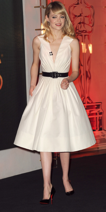 Emma Stone does white Andrew Gn at 85th Academy Awards nominations announcement