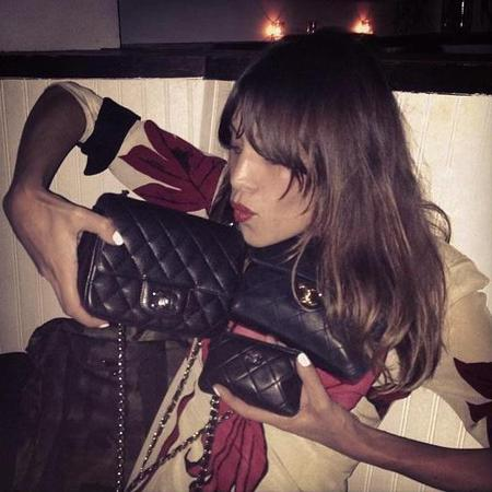 Alexa Chung shows off Chanel handbag collection