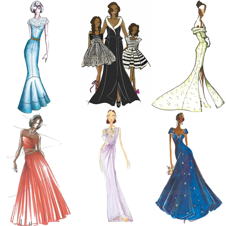 Designer sketches for Michelle Obama to wear at Inauguration