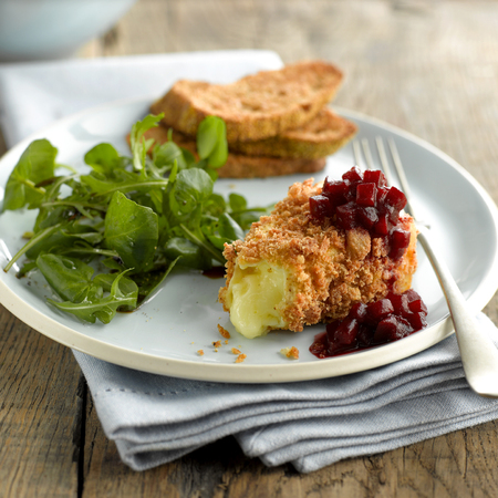 Fried Brie, relish and watercress salad