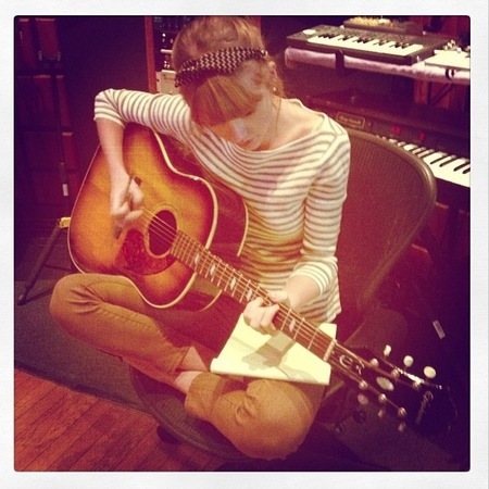 Taylor Swift does striped studio style