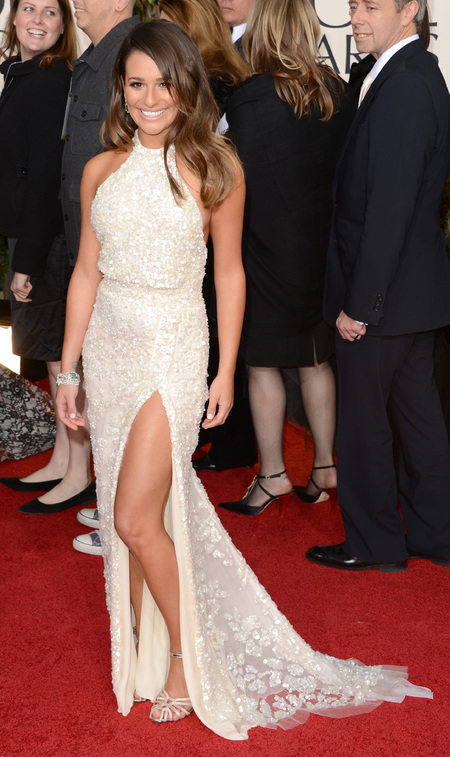 Lea Michele in split floor length dress