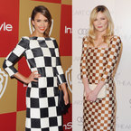 Jessica Alba & Kirsten Dunst don Louis Vuitton SS13 checks
