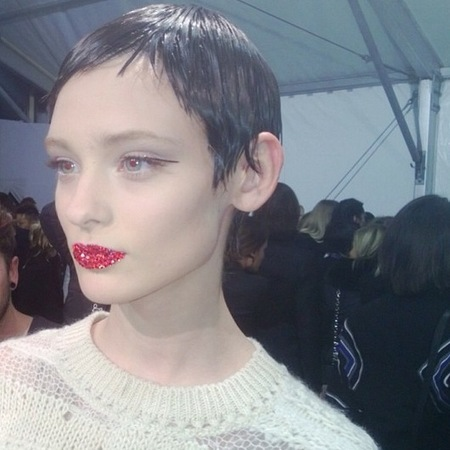 Rhinestone red lips at Dior Paris Haute Couture Fashion Week Spring/Summer 2013