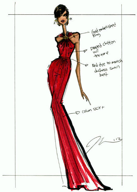 Sketch by Jason Wu of Michelle Obama's Inaugural Ball dress