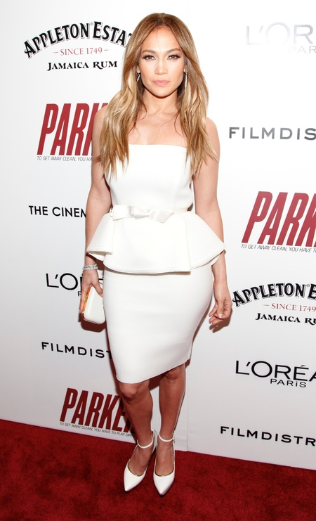 Jennifer Lopez in peplum dress