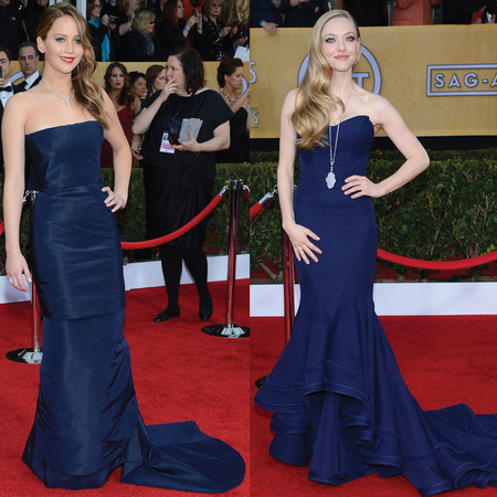 Jennifer Lawrence and Amanda Seyfried at 2013 SAG Awards