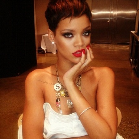 Rihanna shows off short new red hairstyle on instagram