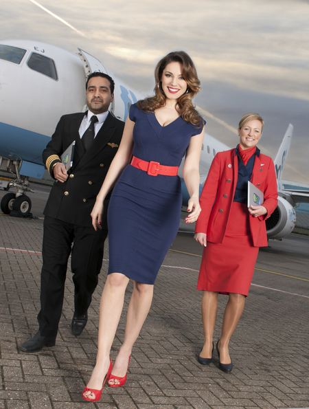 Kelly Brook launchs a trial scheme from Sky offering Flybe passengers the latest tech toys pre-loaded with TV shows to enjoy during domestic flights.