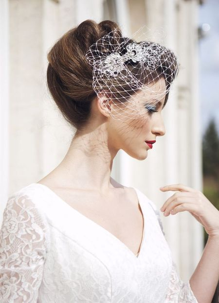 flo and percy birdcage veil