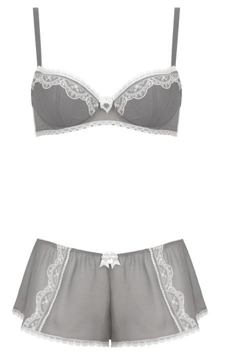 Chantal grey bra, £28, and french knicker, £15, both Boux Avenue