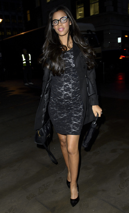 Pregnant Rochelle Humes goes geek chic in statement specs