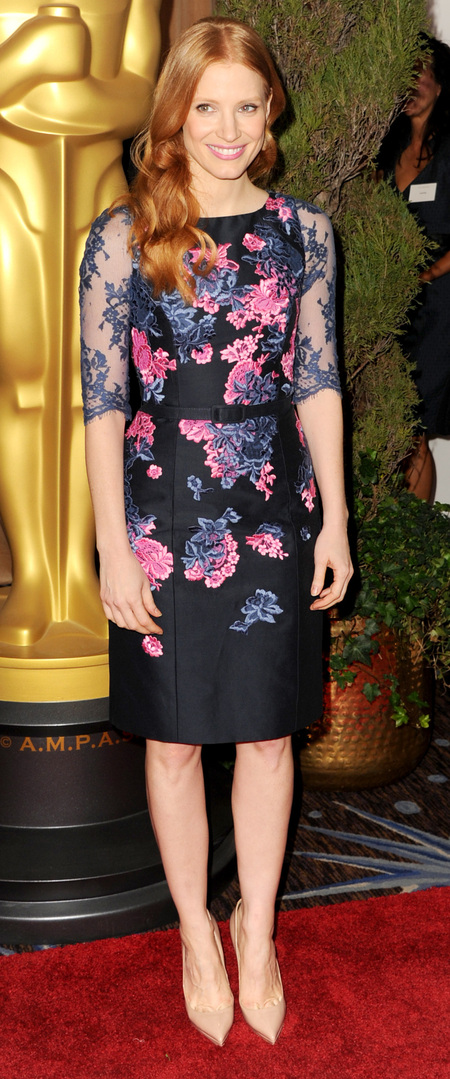 Jessica Chastain in Erdem at Oscars luncheon 2013