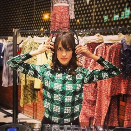 Alexa Chung is pretty in embellished Marni print shirt
