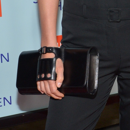 Cobie Smulders at Safe Haven premiere with gloved clutch bag