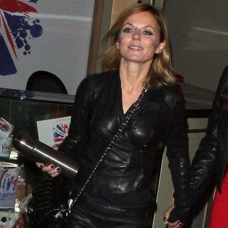 Geri Halliwell rocks biker leathers for Spice Girls night out