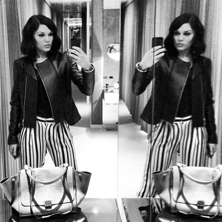 SPOTTED! Jessie J's Celine trapeze handbag