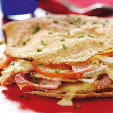 cheese and bacon pancake stack