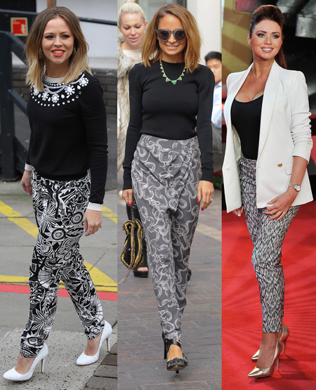 Kimberley Walsh, Nicole Richie and Amy Childs do monochrome trousers