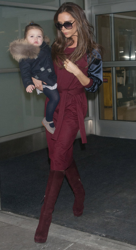 Victoria Beckham at airport for New York Fashion week