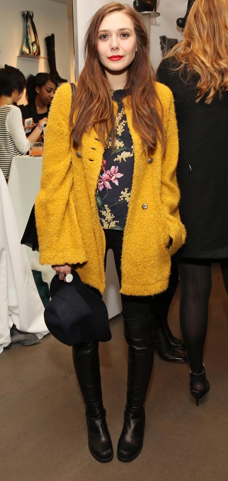 COAT CRUSH: Elizabeth Olsen's cosy yellow overcoat