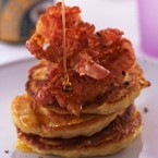 Crispy bacon pancakes recipe with golden syrup