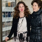 Drew Barrymore flashes Spanx in printed maxi at NYFW AW13