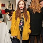 COAT CRUSH: Elizabeth Olsen's cosy yellow overcoat