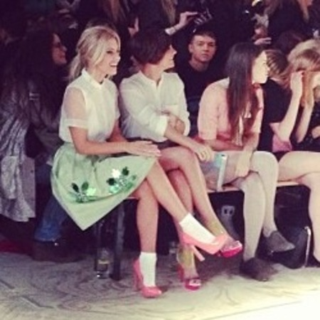 Mollie King and Frankie Sandford at LFW AW13