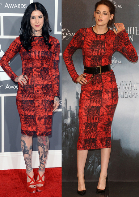 Kat Von D and Kristen Stewart in Derek Lam dress