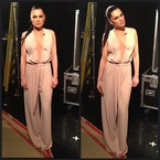 Jessie J in nude jumpsuit for The Voice UK filming