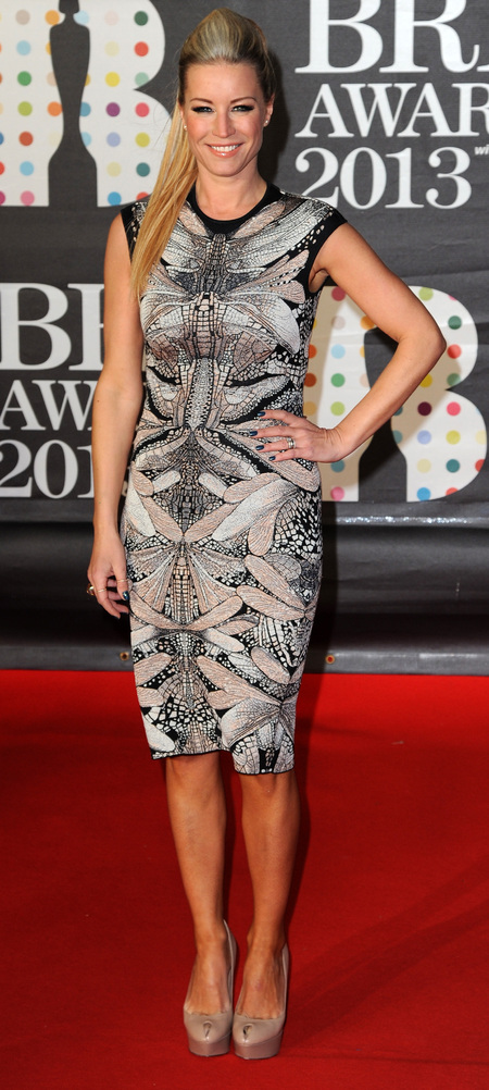 Denise Van Outen in grey printed bodycon
