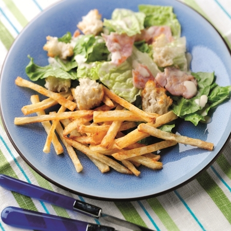 National Chip Week cesar salad with homemade thin chips