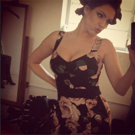 Kelly Brook dons Dolce & Gabbana florals for Celebrity Juice filming