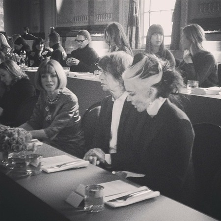 Anna Wintour, Mick Jagger, Daphne Guinness at L'Wren Scott AW13, London Fashion Week