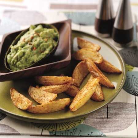 National Chip Week spicy potato wedges and avocado dip recipe