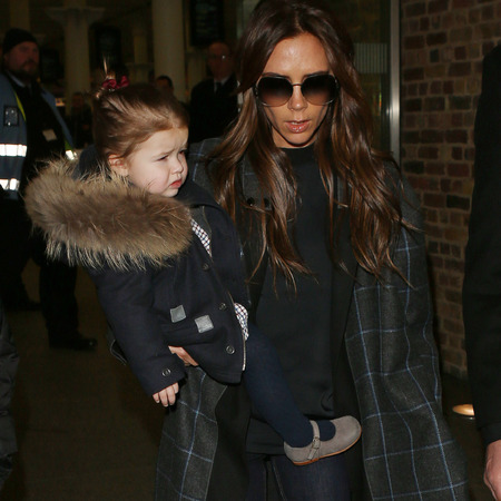 Victoria and Harper Beckham at Eurostar King's Cross St Pancras
