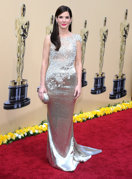 Sandra Bullock pearlescent Marchesa gown