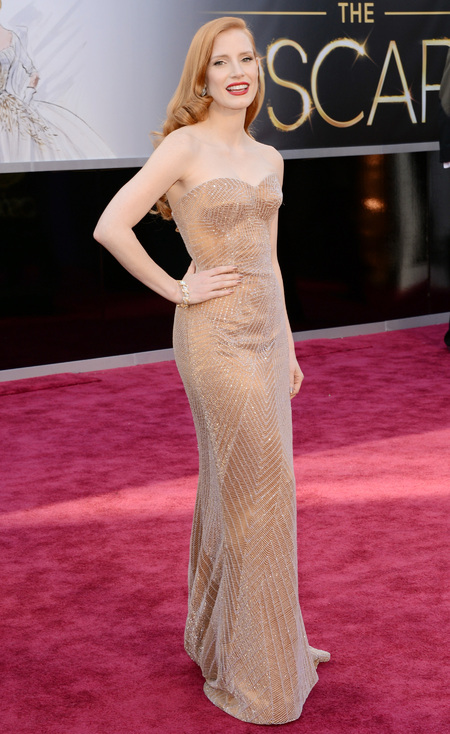 Jessica Chastain in nude Armani dress