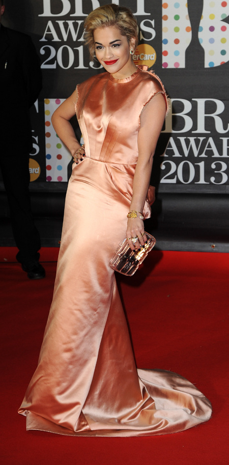 Rita Ora in pink champagne silk dress