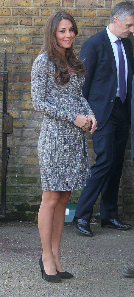 Kate Middleton in grey Max Mara dress