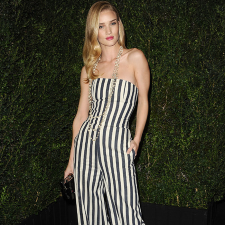 Rosie Huntington-Whiteley in Chanel striped jumpsuit