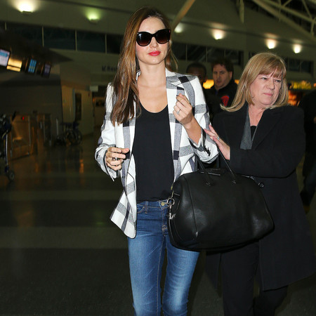 Miranda Kerr in Stella McCartney checks