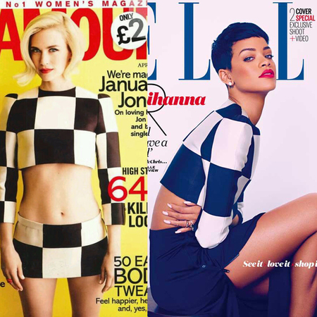 Rihanna and January are wearing the same Louis Vuitton top for their April covers