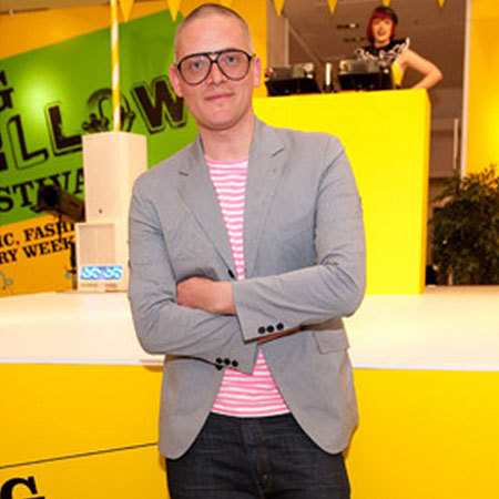 Fashion Designer Giles Deacon attends Selfridges' 100th birthday party in London in April 2009.